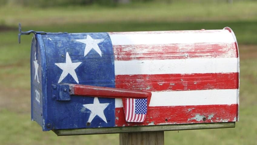 mailbox with us flag